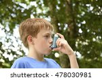 boy with asthma inhaler. young... | Shutterstock . vector #478030981