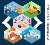 multistory isometric apartment... | Shutterstock . vector #478047379