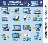 podcasting and online webinar... | Shutterstock . vector #478051624