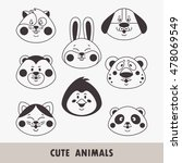 cute animal faces including... | Shutterstock .eps vector #478069549