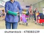 injured woman with green cast... | Shutterstock . vector #478083139