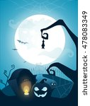 blue halloween background with... | Shutterstock .eps vector #478083349