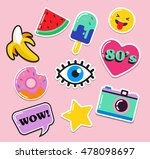 pop art fashion chic patches ...   Shutterstock .eps vector #478098697