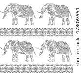 elephant ethnic pattern 3 | Shutterstock .eps vector #478098991