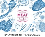 vintage meat  frame. vector... | Shutterstock .eps vector #478100137