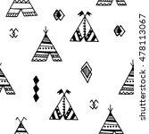 tepee seamless pattern. wigwam... | Shutterstock .eps vector #478113067
