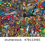 sports collage on a large brick ... | Shutterstock .eps vector #478113481
