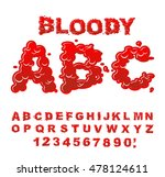 bloody abc. red liquid letter.... | Shutterstock .eps vector #478124611