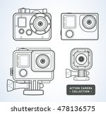 vector line art action camera... | Shutterstock .eps vector #478136575