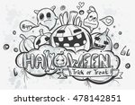 cute hand drawn halloween... | Shutterstock .eps vector #478142851
