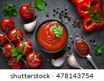 tomato ketchup sauce  in a bowl ... | Shutterstock . vector #478143754