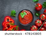 tomato ketchup sauce  in a bowl ... | Shutterstock . vector #478143805