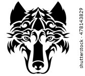 beautiful wolf tattoo. vector... | Shutterstock .eps vector #478143829