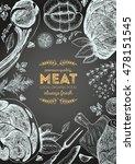 vintage meat frame. vector... | Shutterstock .eps vector #478151545