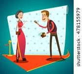 journalist interviews young... | Shutterstock . vector #478155979