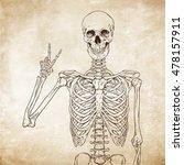 human skeleton posing over old... | Shutterstock .eps vector #478157911