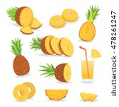 set of pineapple slices... | Shutterstock .eps vector #478161247