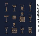 bar crystal glasses vector...