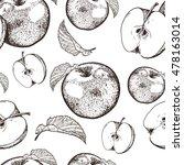 Seamless Apple Fruit Sliced In...