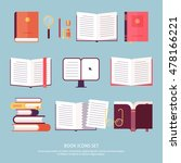 vector books set icon in flat... | Shutterstock .eps vector #478166221