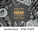 vintage meat frame. vector... | Shutterstock .eps vector #478174309