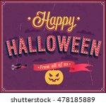 happy halloween typographic... | Shutterstock .eps vector #478185889