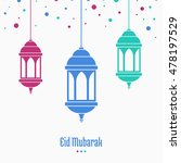 eid mubarak  greeting card ... | Shutterstock .eps vector #478197529