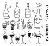 alcohol doodles set | Shutterstock .eps vector #478199371