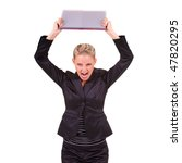 Small photo of Shirty young business woman with book