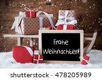 sleigh with gifts  snow ... | Shutterstock . vector #478205989