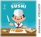 vintage sushi poster design.... | Shutterstock .eps vector #478216339