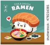 vintage sushi ramen poster... | Shutterstock .eps vector #478216381