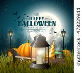 old lantern and pumpkins in the ... | Shutterstock .eps vector #478229611