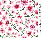watercolor little pink and red... | Shutterstock . vector #478241464