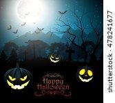 halloween creepy forest at... | Shutterstock . vector #478241677