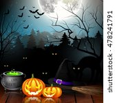 halloween party background with ... | Shutterstock .eps vector #478241791