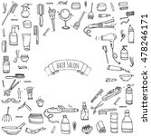 hand drawn doodle hair salon... | Shutterstock .eps vector #478246171