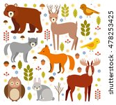 vector set of flat animals.... | Shutterstock .eps vector #478253425