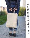 girl holding ecological... | Shutterstock . vector #478268014