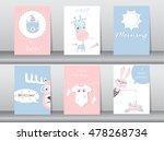 set of cute animals poster... | Shutterstock .eps vector #478268734