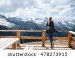 woman relaxing on terrace on... | Shutterstock . vector #478273915