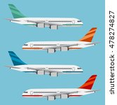set of colorful flat airplanes... | Shutterstock .eps vector #478274827