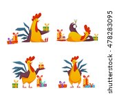 happy new year 2017 rooster set.... | Shutterstock .eps vector #478283095