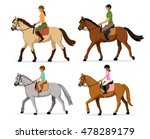 Stock vector man woman boy girl riding horses vector illustration set isolated family equestrian sport 478289179