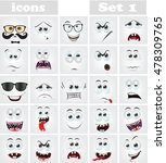 set of cartoon faces with... | Shutterstock .eps vector #478309765