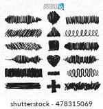 vector set of black strokes... | Shutterstock .eps vector #478315069