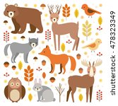 vector set of flat animals.... | Shutterstock .eps vector #478323349