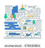 city life   vector modern line... | Shutterstock .eps vector #478330801