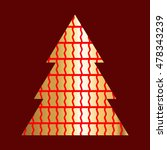 golden christmas tree icon with ... | Shutterstock .eps vector #478343239