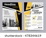 yellow flat modern brochure... | Shutterstock .eps vector #478344619